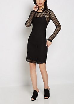 Black Wide Mesh Bodycon Dress