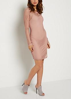 Pink Wide Mesh Bodycon Dress