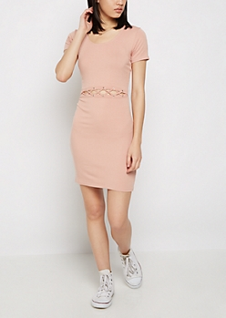 Lattice Cutout Waist Dress