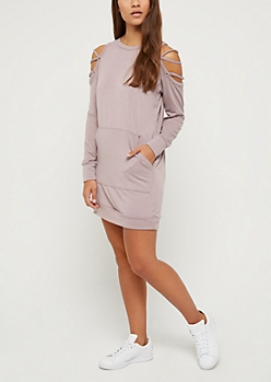 Lavender Laced Sleeve Sweatshirt Dress