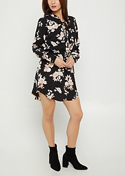 Champagne Rose Floral Shirt Dress