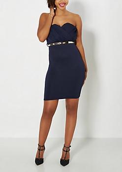 Navy Bow Belt Bodycon Dress