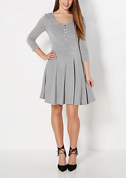 Gray Henley Skater Dress