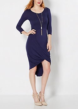 Navy Draped Goddess Dress