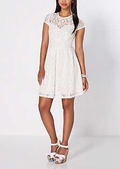 Ivory Summer Romance Skater Dress