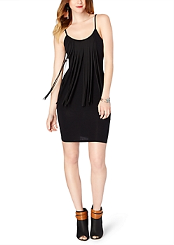 Black Fringed Bodycon Dress