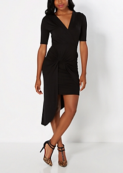 Black Knotted Surplice Dress