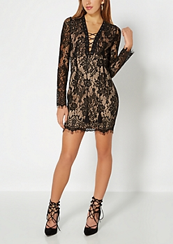 Black Eyelash Lace Dress