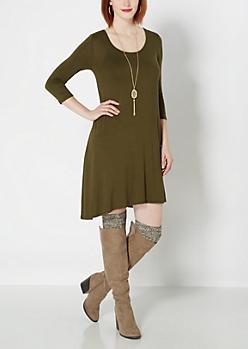 Lattice Back Swing Dress
