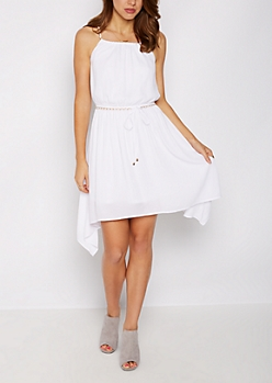 Chain Strap Handkerchief Hem Dress