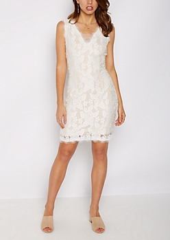 White Eyelash Lace Bodycon Dress