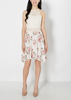 Rosy Lace High Neck Illusion Dress