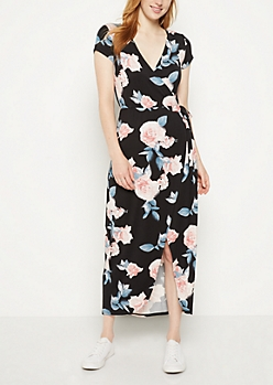 Pink Rose Surplice Wrap Maxi Dress