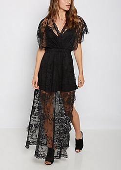 Eyelash Lace Surplice Maxi Dress