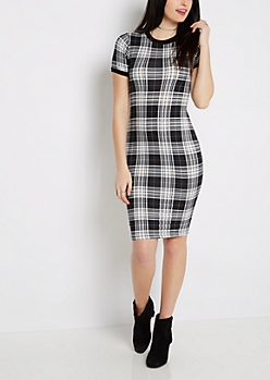 Tartan Plaid Soft Knit Midi Dress