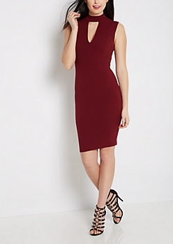 Mock Neck Keyhole Bodycon Dress