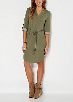 Olive Green Study Hall Shirt Dress