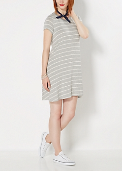 Heather Gray Striped Tent Dress