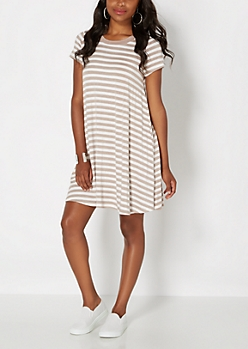 Oatmeal Striped Tent Dress