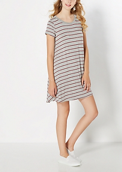 Burgundy Striped Tent Dress