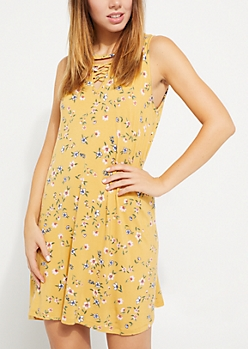 Floral Lattice Swing Dress