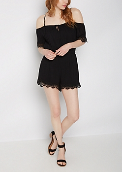 Black Scalloped Crochet Cold Shoulder Romper
