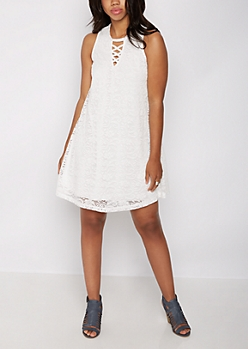 Swirling Lace Lattice Shift Dress