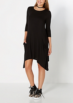 Black Pocketed Sharkbite Dress