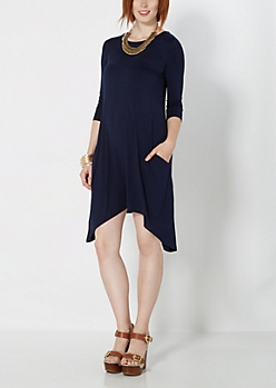 Navy Pocketed Sharkbite Dress