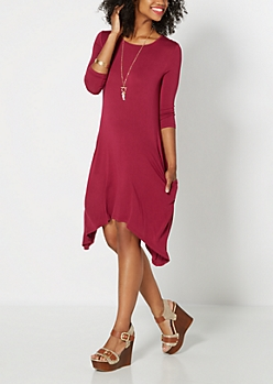 Burgundy Pocketed Sharkbite Dress