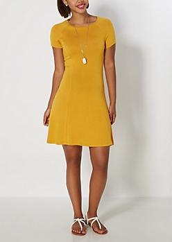 Mustard Princess Seam Skater