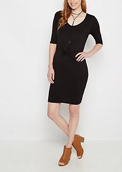Black Twist Front Knit Midi Dress