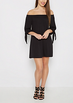 Black Tie Sleeve Off-Shoulder Dress