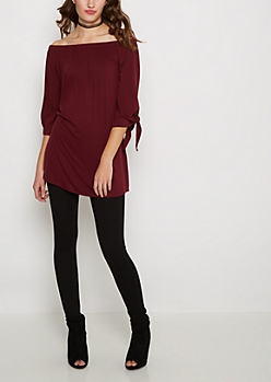 Burgundy Tie Sleeve Off-Shoulder Dress
