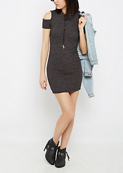 Charcoal Marled Cold Shoulder Dress