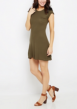 Dark Olive Lettuce Edge Swing Dress