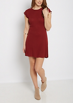 Burgundy Lettuce Edge Swing Dress