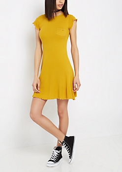 Mustard Lettuce Edge Swing Dress