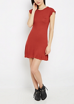 Burnt Orange Lettuce Edge Swing Dress