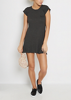 Charcoal Gray Lettuce Edge Swing Dress