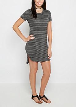 Charcoal Pencil Striped Mini Dress