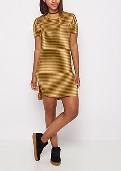 Mustard Pencil Striped Mini Dress