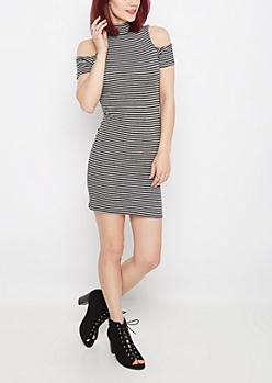 Charcoal Striped Cold Shoulder Knit Dress