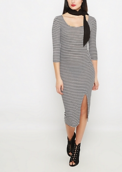 Black Striped Split Midi Dress