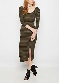 Olive Striped Split Midi Dress