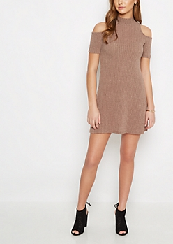 Taupe Rib Knit Cold Shoulder Dress