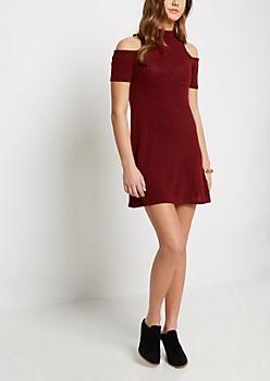 Burgundy Rib Knit Cold Shoulder Dress
