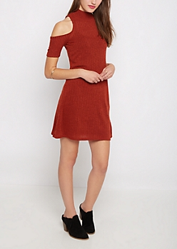 Burnt Orange Rib Knit Cold Shoulder Dress