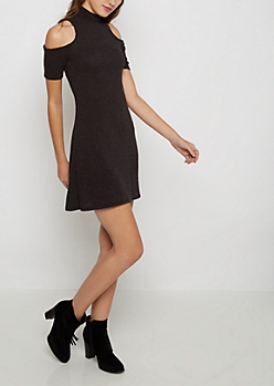 Charcoal Marled Rib Knit Cold Shoulder Dress