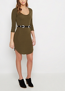 Olive Double Buckled Shirttail Dress